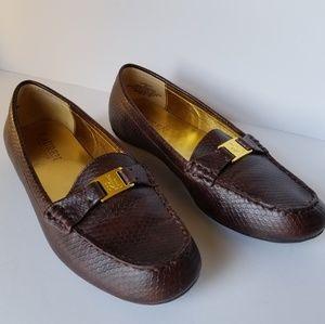 Ralph Lauren Brown Careigh Snakeskin Loafers
